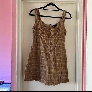 Dolls Kill Motel Brown Check Mehra Mini Dress